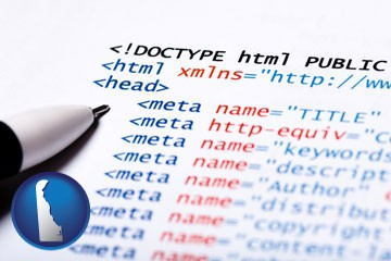 web site HTML code - with Delaware icon