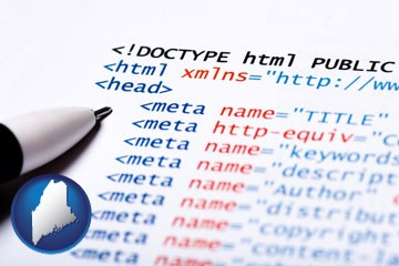web site HTML code - with Maine icon