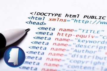 web site HTML code - with Mississippi icon