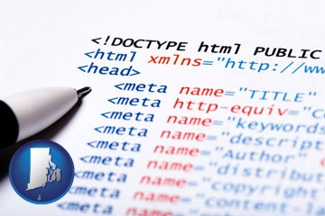 web site HTML code - with Rhode Island icon